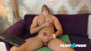 Cute Erik Spreads His Ass and Strokes His Big Cock