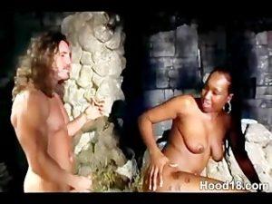 Ebony girl getting fucked on the bench